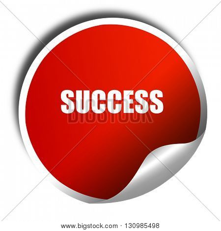 Success sign with smooth lines, 3D rendering, red sticker with w