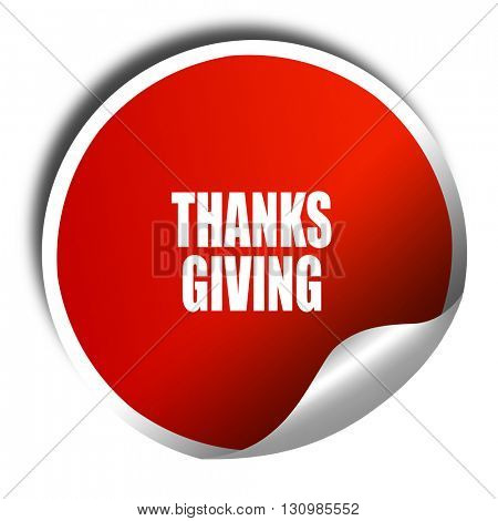 thanksgiving, 3D rendering, red sticker with white text