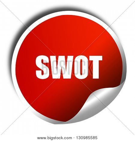 swot, 3D rendering, red sticker with white text