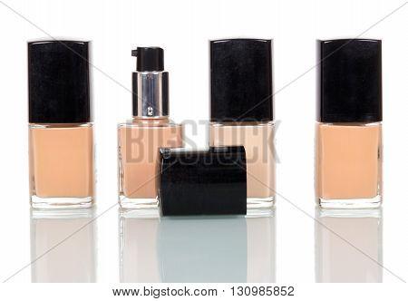 Set nail polish close-up isolated on white background.