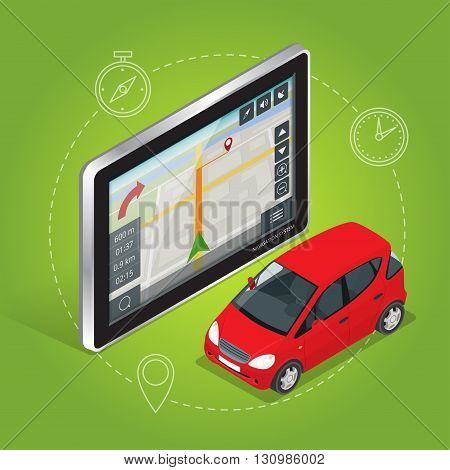 Geolocation gps navigation touch screen tablet. Mobile GPS navigation concept. Flat 3d vector isometric illustration