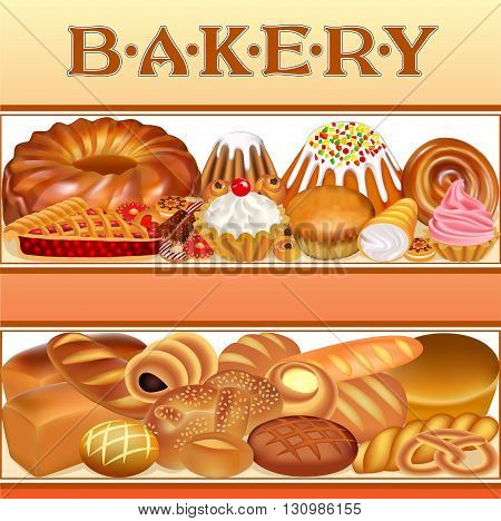 Illustration background with a set of different bread and bakery