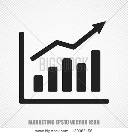 The universal vector icon on the advertising theme: Black Growth Graph. Modern flat design. For mobile and web design. EPS 10.