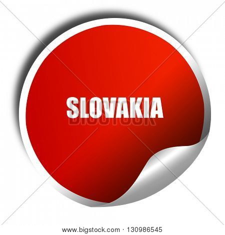 slovakia, 3D rendering, red sticker with white text