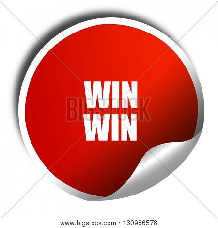 win win, 3D rendering, red sticker with white text