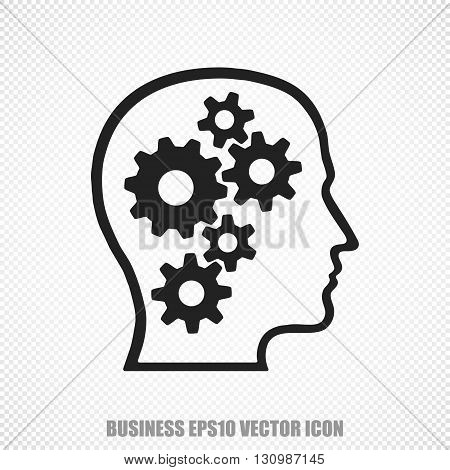 The universal vector icon on the business theme: Black Head With Gears. Modern flat design. For mobile and web design. EPS 10.