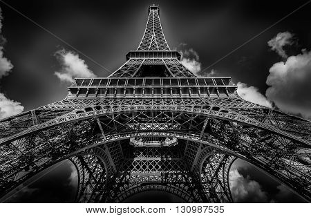 EIFFEL TOWER IN PARIS, WHITE AND BLACK
