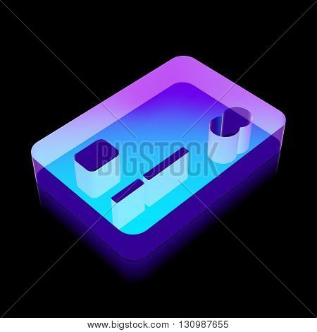 Finance icon: 3d neon glowing Credit Card made of glass with reflection on Black background, EPS 10 vector illustration.