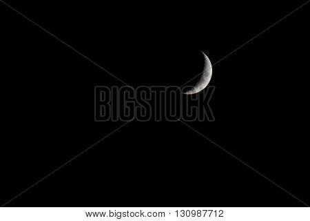 crescent moon on black background - night sky