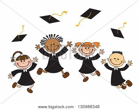 vector illustration of happy graduates with mortarboard vector
