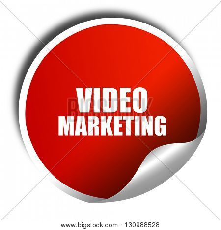 video marketing, 3D rendering, red sticker with white text