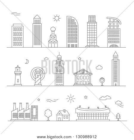 City design elements buildings and houses. Linear style. Vector illustration.