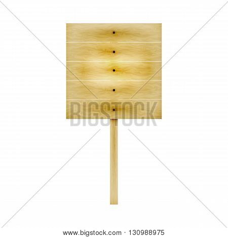 Vector illustration of a wooden board on one leg for ads. Isolated white background. Wooden billboard.