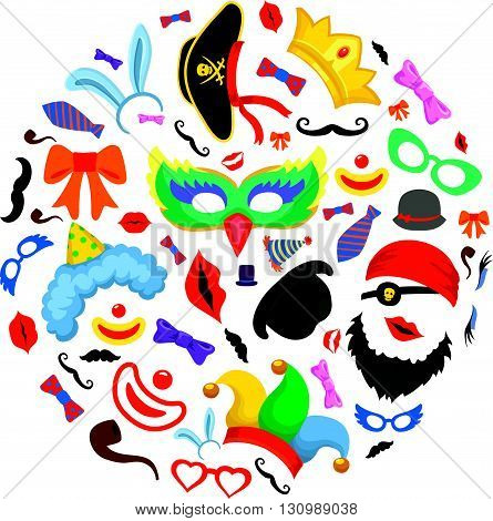 Birthday party photo booth props set in circle shape. hat mask and bunny ears, icon abstract colorful, vector illustration