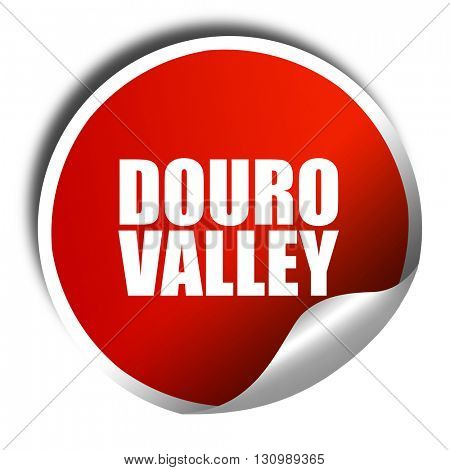 douro valley, 3D rendering, red sticker with white text