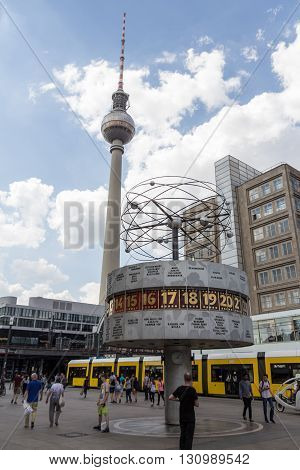 World Clock And Television Tower (fernsehturm) At Alexanderplatz In Berlin