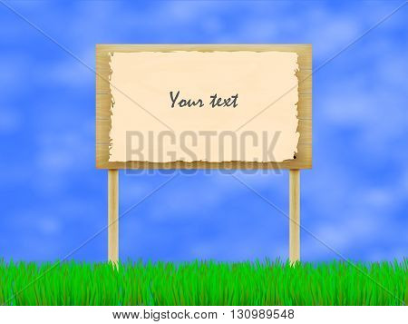 Vector illustration of wooden billboard on the background of sky and green grass. A wooden plaque with the inscription. Notice board.