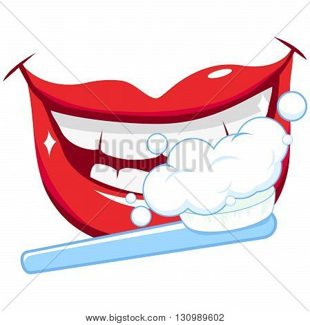 Vector illustration of a smiling mouth with clean teeth, and a toothbrush, brushing teeth. Dental hygiene concept.