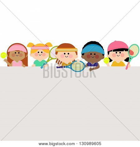 Vector illustration of horizontal blank banner with boys and girls playing tennis with rackets and tennis balls.