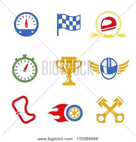 Motor race formula icons set. Speedometer, helmet and cup, winning finish