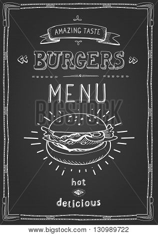 Burger poster menu sketch drawing on the chalkboard.Vector illustration.