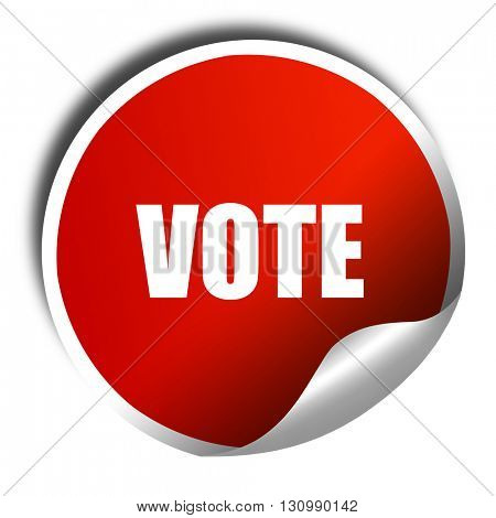vote, 3D rendering, red sticker with white text