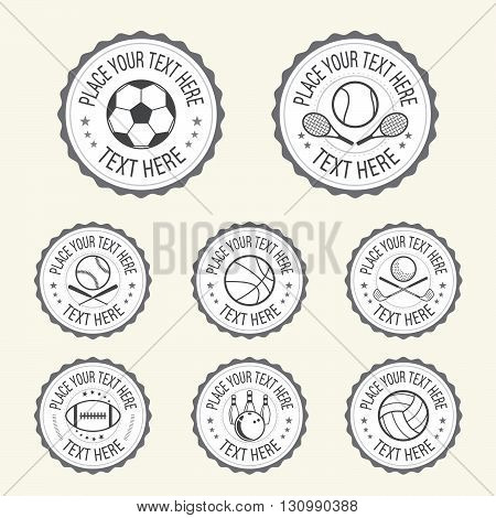 Set of various sport badge label emblem icon in vector