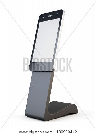 Advertising, information Desk phone isolated on white background. Outdoor advertising stand. For your design. 3d rendering.