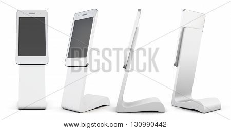 Set of white advertising stand in the shape of telephone isolated on white background. Outdoor advertising stand. 3d rendering