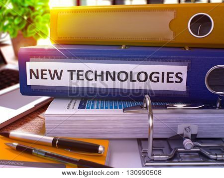 Blue Office Folder with Inscription New Technologies on Office Desktop with Office Supplies and Modern Laptop. New Technologies Business Concept on Blurred Background. 3D Render.