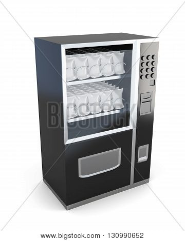 Black machine for sale of snacks isolated on white background. 3d render.