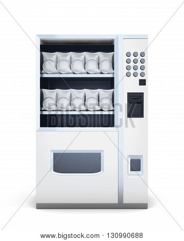 Front view machine for sale of snacks isolated on white background. 3d rendering.