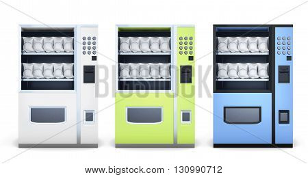 Set of machine for sale of snacks isolated on white background. White, blue, green. Front view. 3d rendering