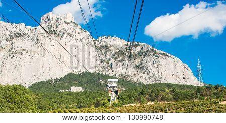 Cable car to Ai-Petri summit Crimea peninsula Ukraine
