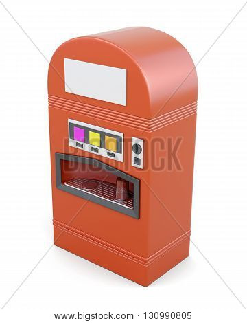 Red vending machine for soft drinks isolated on white background. Machine for sale soda. 3d render image