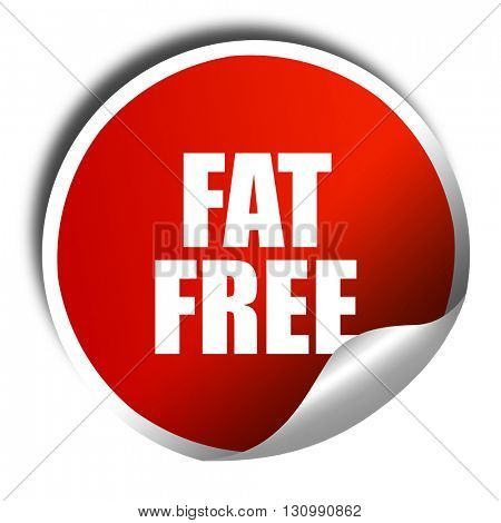 fat free, 3D rendering, red sticker with white text