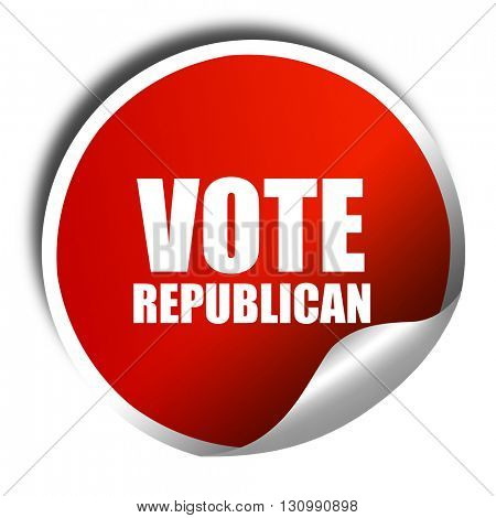 vote republican, 3D rendering, red sticker with white text
