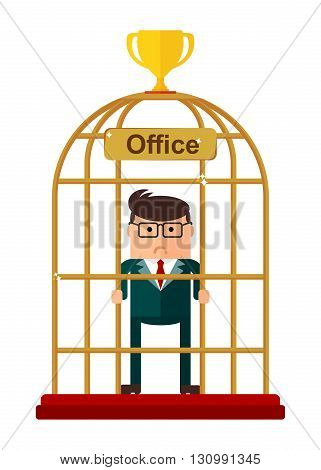 Conceptual image of office work. Office for bird cage. Flat vector illustration. Isolated objects.