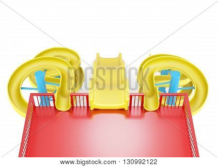 Top view of water slide isolated on a white background. 3d rendering.