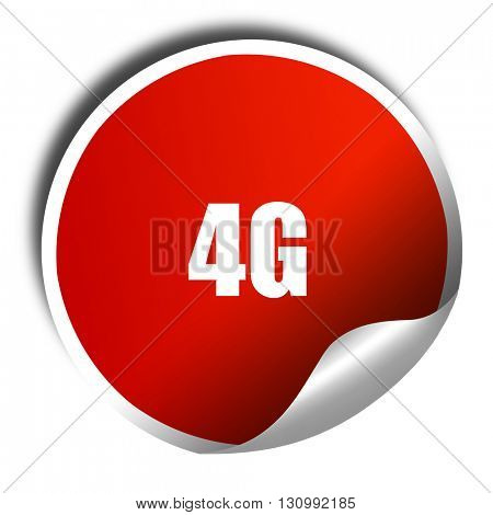 4g, 3D rendering, red sticker with white text