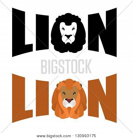 Lion Logo. Wild Hairy Beast And Letters. Text And Glova Lion With Fluffy Mane. Predators Head. Wild