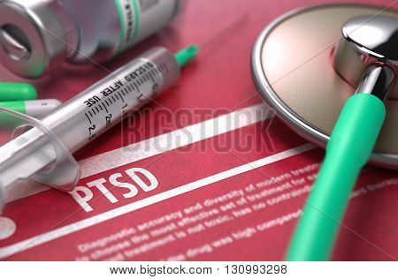 PTSD - Medical Concept with Blurred Text, Stethoscope, Pills and Syringe on Red Background. Selective Focus. 3D Render.