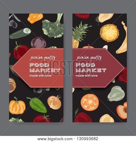 Set of two food market label templates with hand painted fruits and vegetables. Great for store and packaging design.