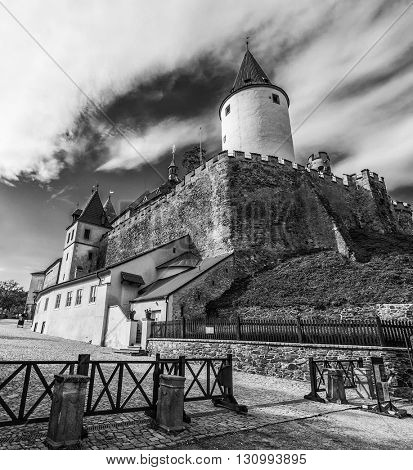 Famous Czech medieval castle of Krivoklat, central Czech Republic. Black and white