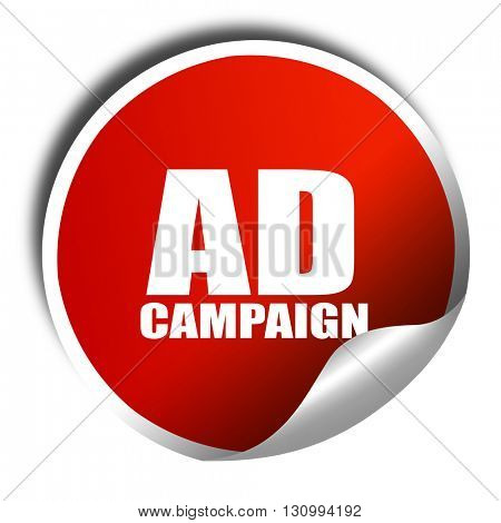 Ad campaing, 3D rendering, red sticker with white text