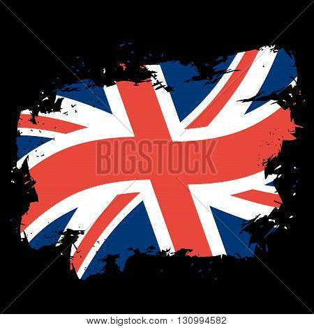 Uk Flag Grunge Style On Black Background. Brush Strokes And Ink Splatter. National Symbol Of United