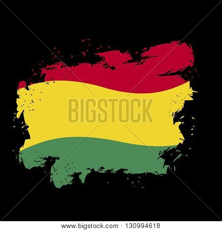 Bolivian Flag Grunge Style On Black Background. Brush Strokes And Ink Splatter. National Symbol Of B