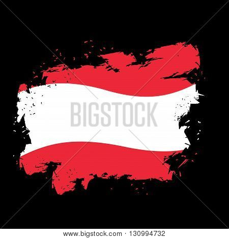 Austria Flag Grunge Style On Black Background. Brush Strokes And Ink Splatter. National Symbol Of Au