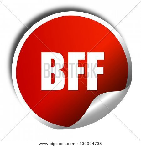 bff, 3D rendering, red sticker with white text
