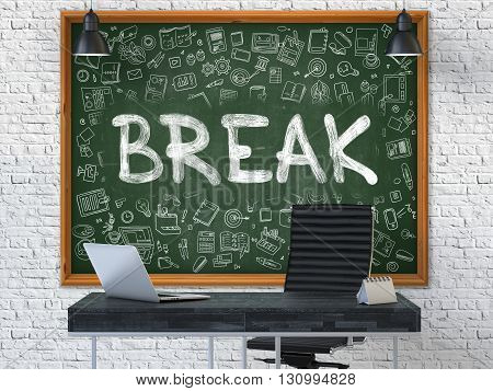 Hand Drawn Break on Green Chalkboard. Modern Office Interior. White Brick Wall Background. Business Concept with Doodle Style Elements. 3D.